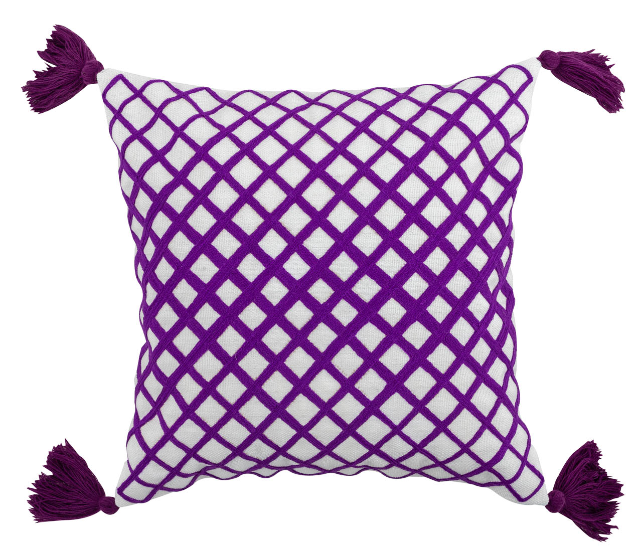 Purple Pillow Cover with Tassels